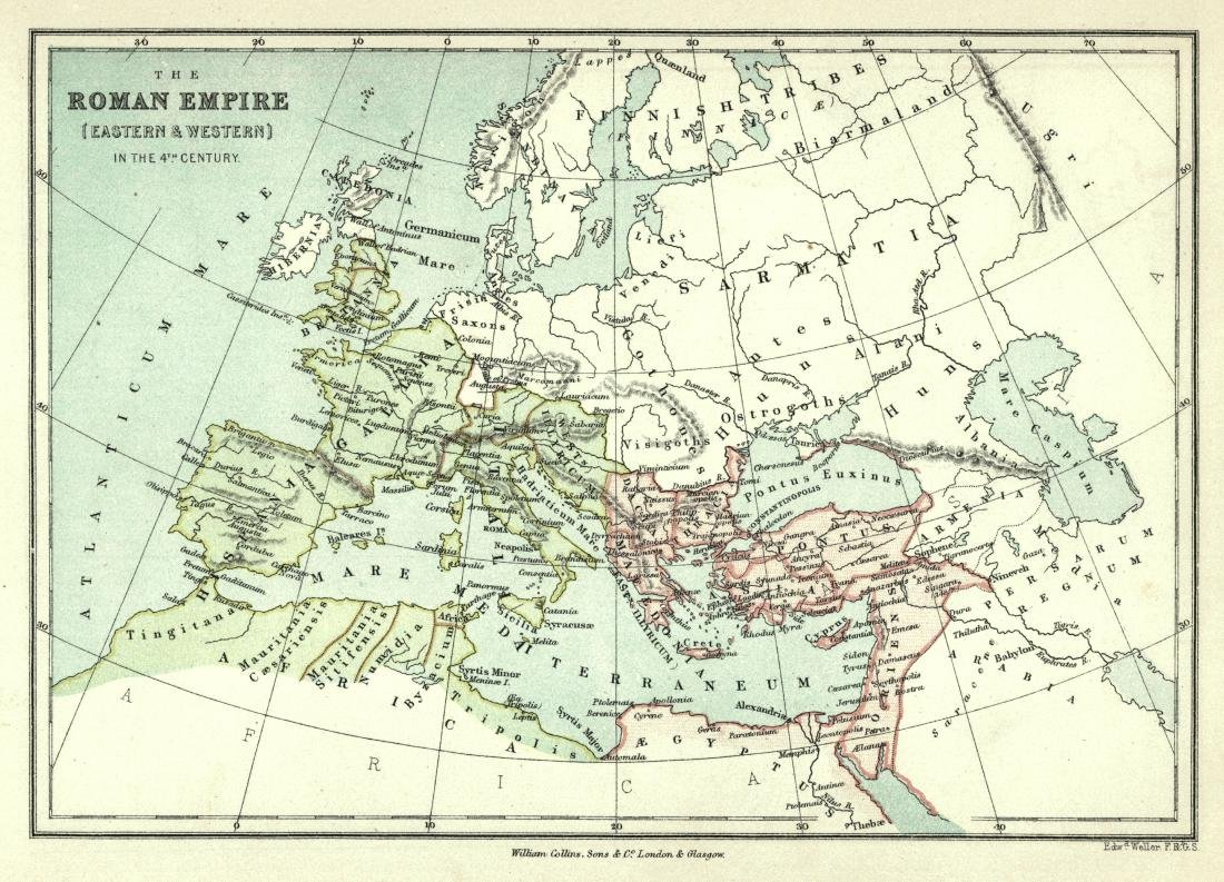 Weller: Antique Map of Roman Empire in the 4th Century