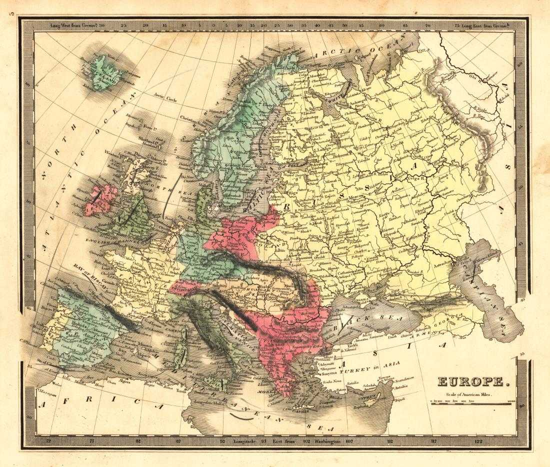 Map Of Europe 1840.Greenleaf Antique Map Of Europe 1840