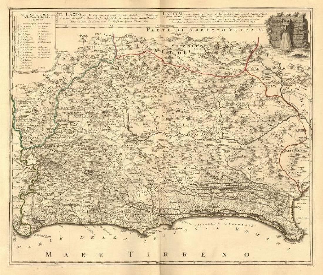 Homann: Antique Map of Lazio, Italy, 1745