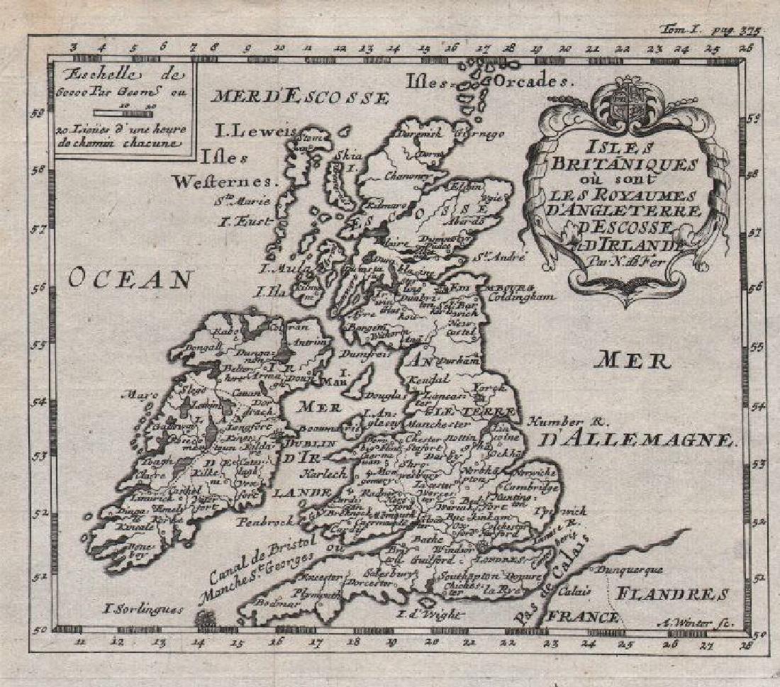 de Fer: Antique Map of the British Isles, 1684