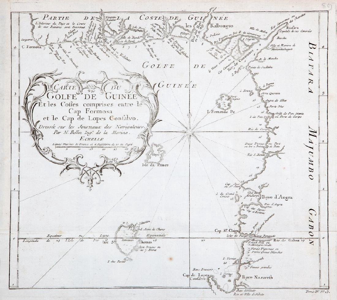 Bellin: Antique Map of West Africa/Gulf of Guinea, 1747
