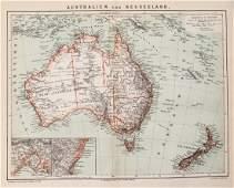 Brockhaus: Antique Map of Australia & New Zealand, 1882
