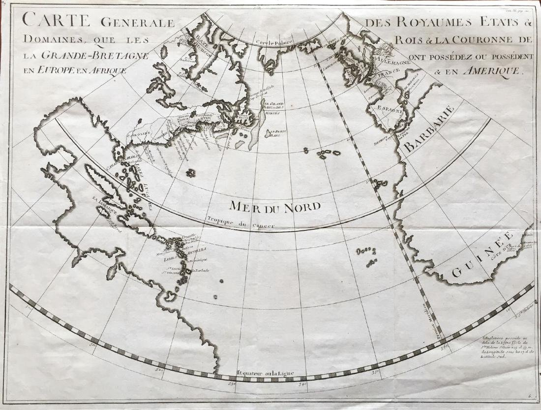 Rapin-Thoyras: Antique Map of British Atlantic, 1770