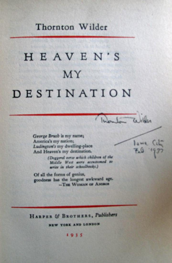 Heaven's My Destination Book Signed by Thornton Wilder