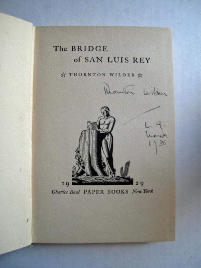 The Bridge of San Luis Rey Book Signed Thornton Wilder