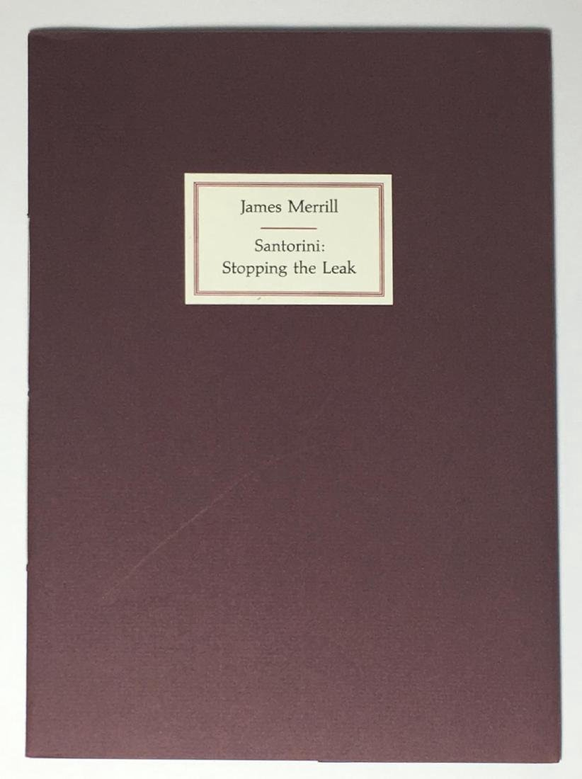 Santorini Stopping the Leak James Merrill First Edition