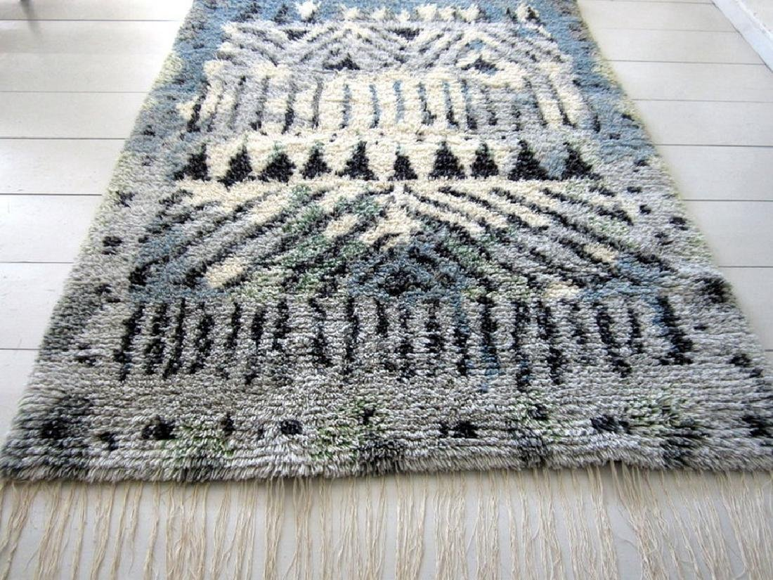 Black White Hand-Weaved Scandinavian Rya Rug 4.7x3.4