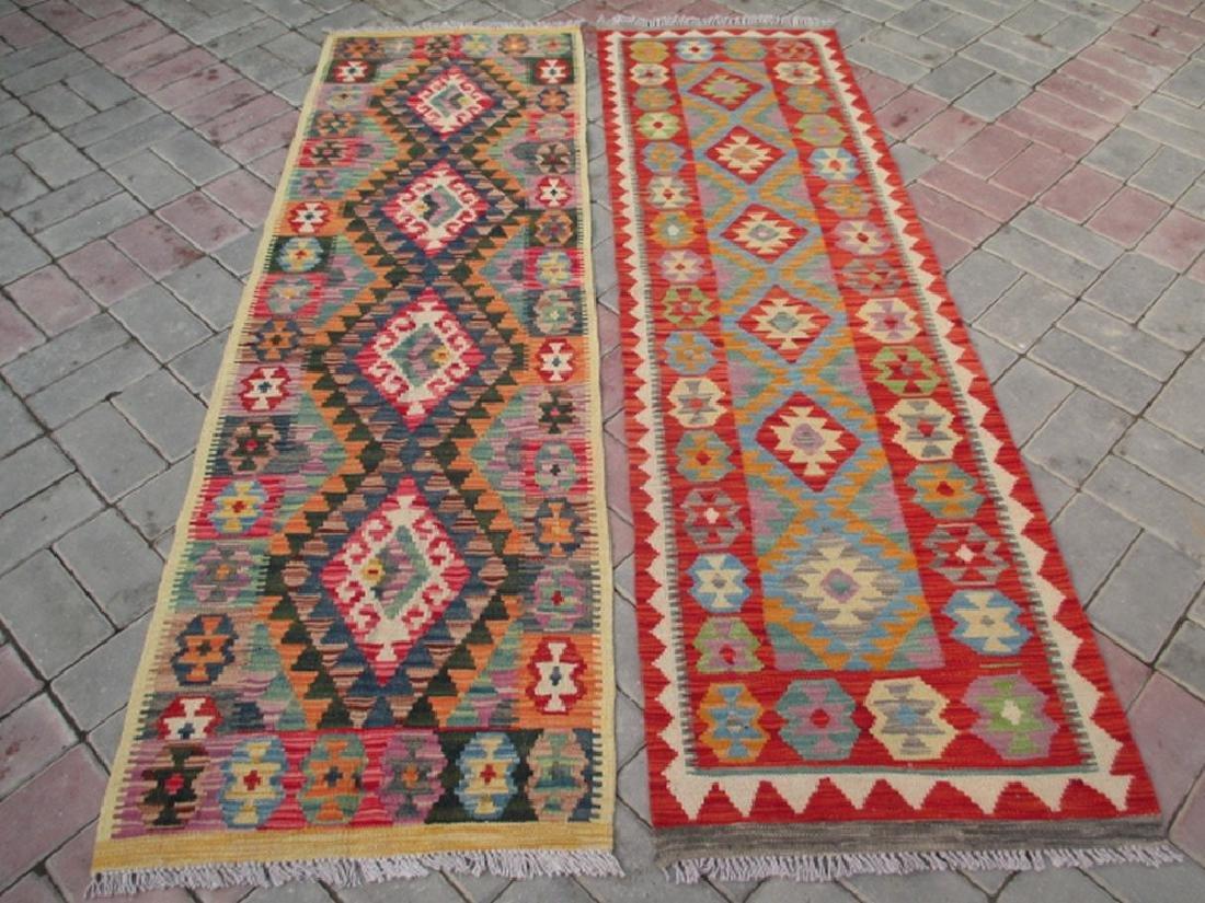 2 Quality Hand Woven Chobi Kilim Rugs 6.5x1.11 & 6.3x2