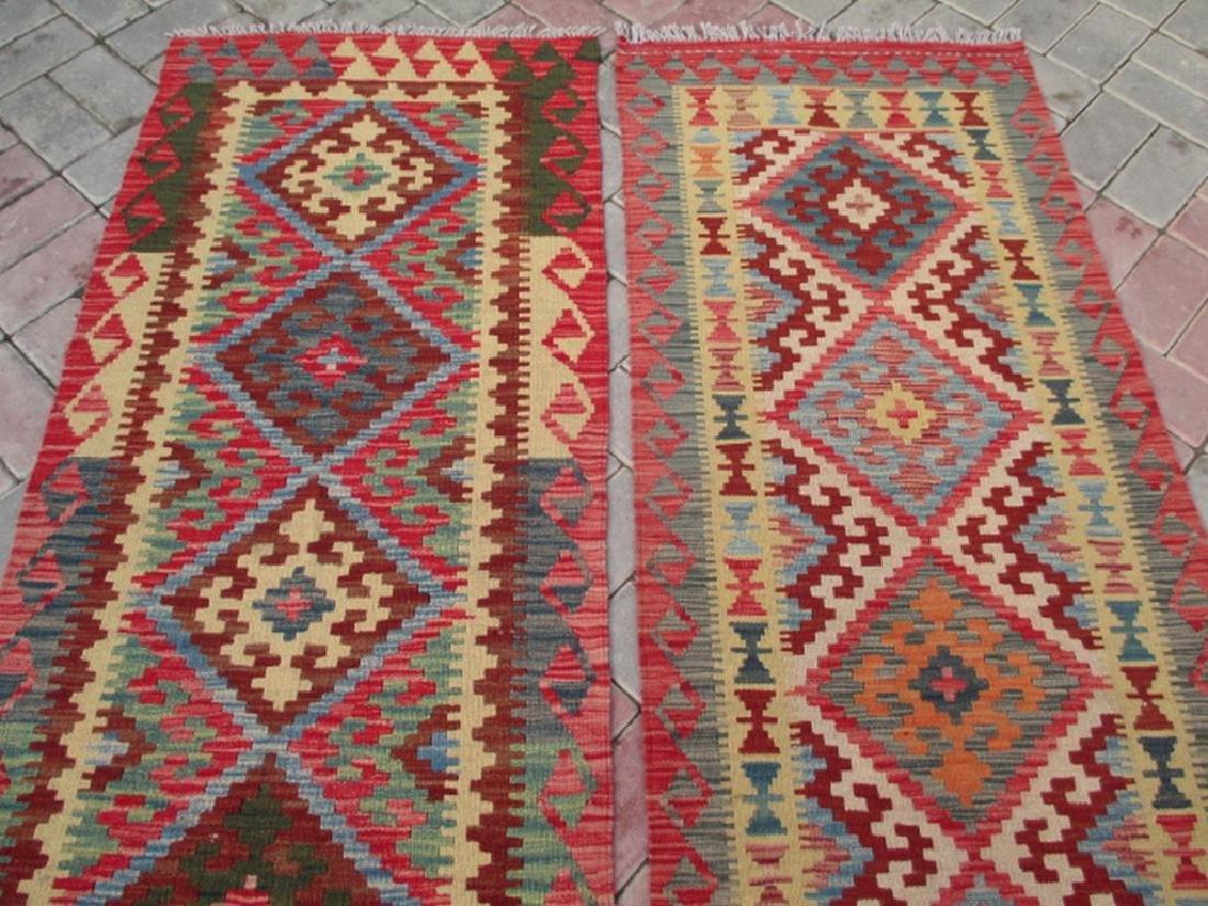 2 Hand Woven Chobi Kilim Rugs 6.1x2.2 & 6.7x2.2 - 2