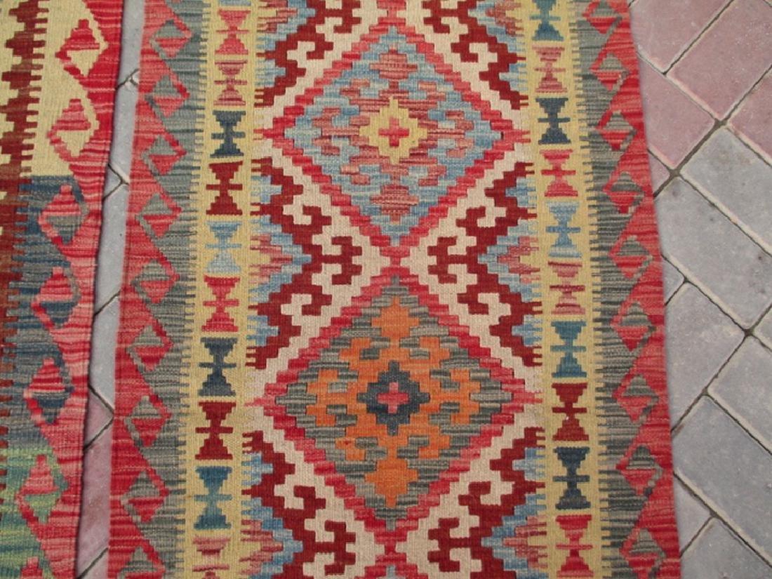 2 Hand Woven Chobi Kilim Rugs 6.1x2.2 & 6.7x2.2 - 4
