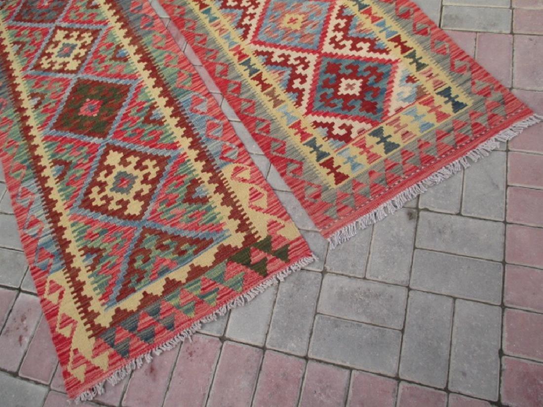 2 Hand Woven Chobi Kilim Rugs 6.1x2.2 & 6.7x2.2 - 5