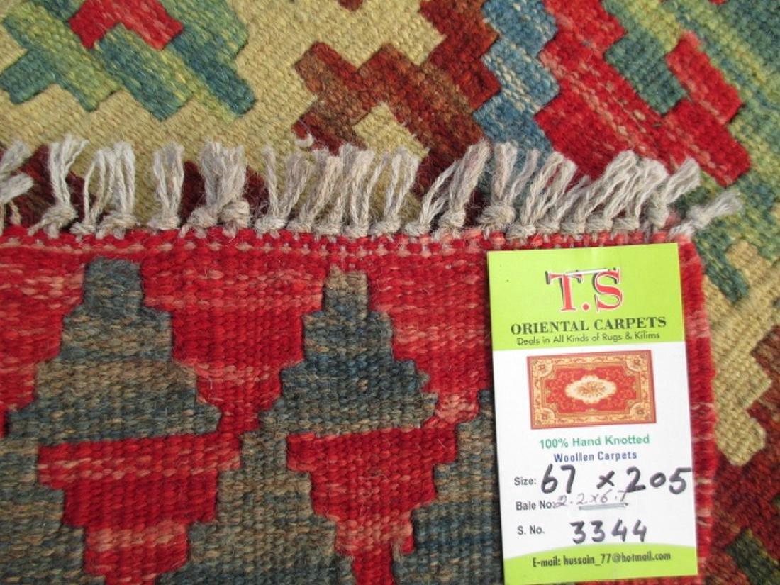 2 Hand Woven Chobi Kilim Rugs 6.1x2.2 & 6.7x2.2 - 6