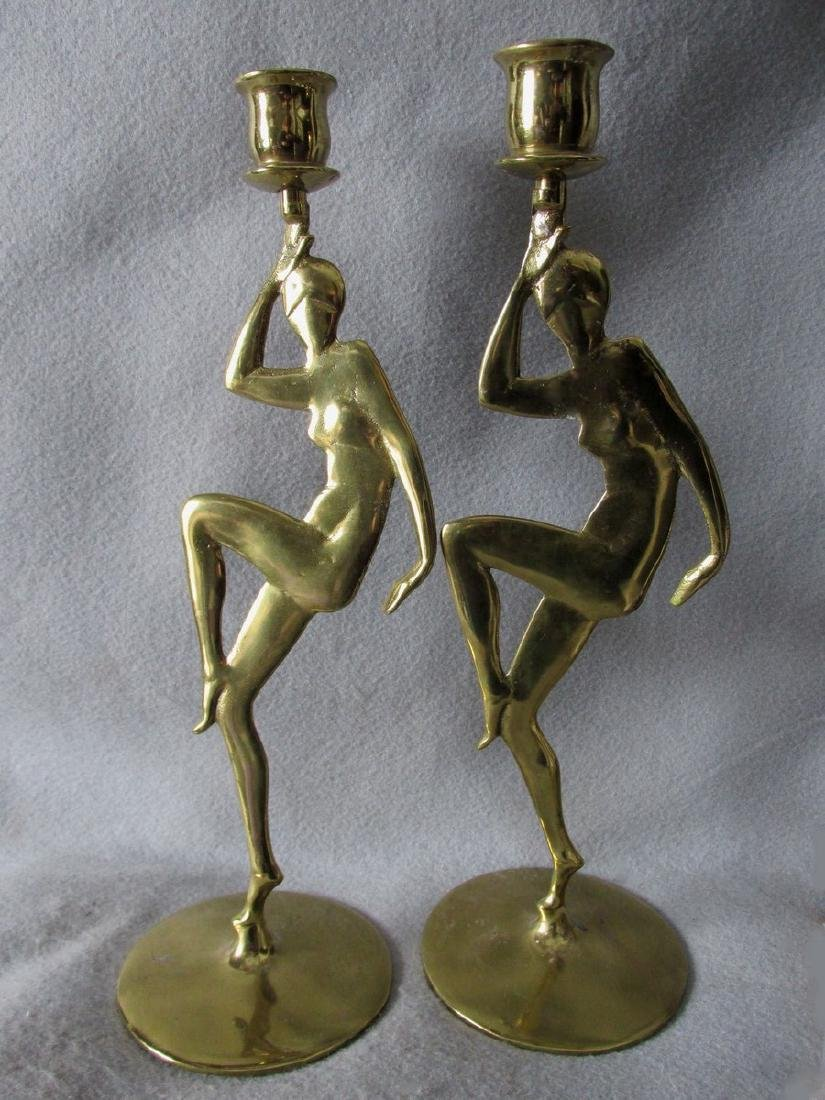 Art Deco Brass Candlesticks with Nude Ladies