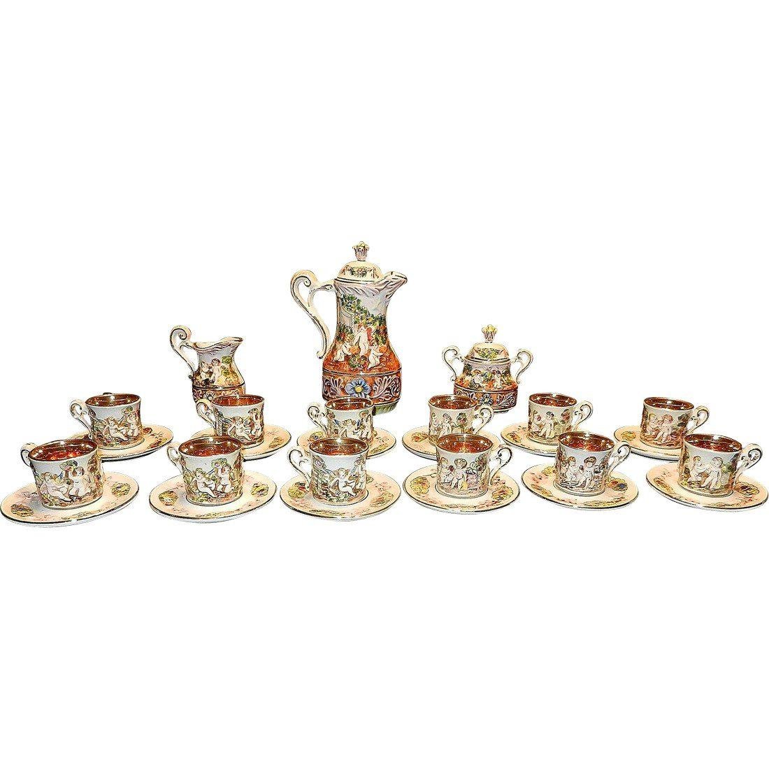 Vintage Capodimonte Italian 22K Gold Lined 29pc Tea Set