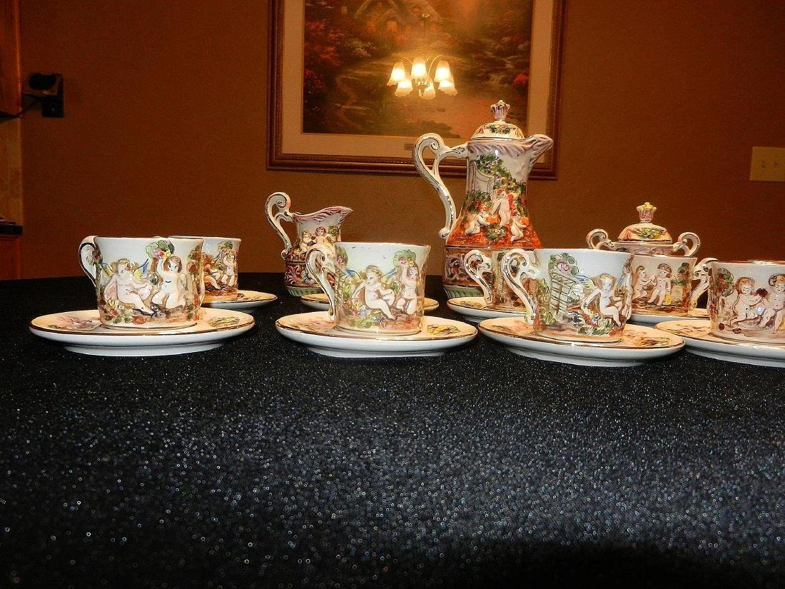Vintage Capodimonte Italian 22K Gold Lined 29pc Tea Set - 2