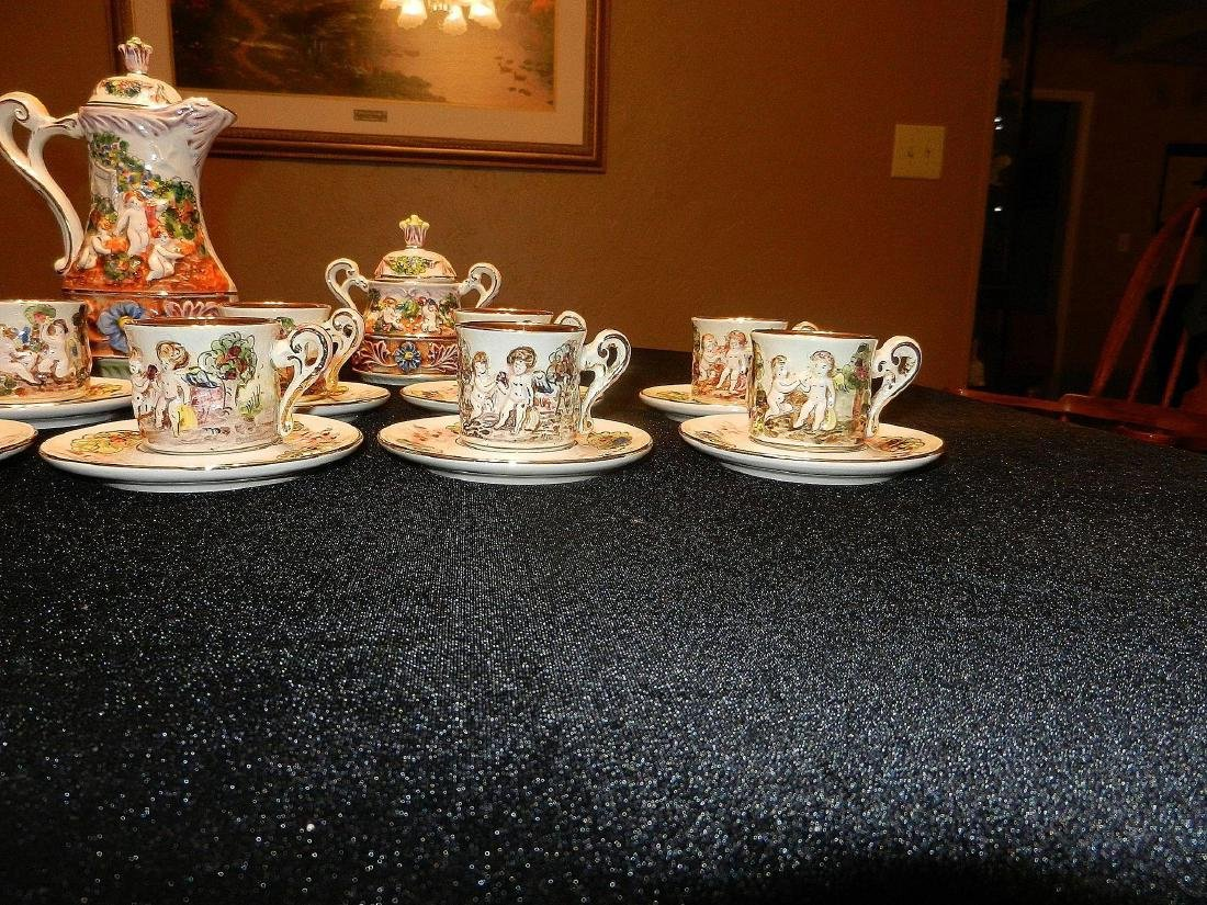 Vintage Capodimonte Italian 22K Gold Lined 29pc Tea Set - 3