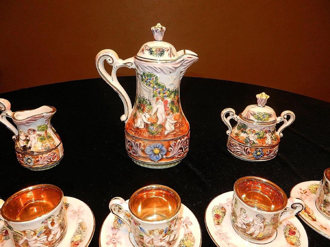 Vintage Capodimonte Italian 22K Gold Lined 29pc Tea Set - 4