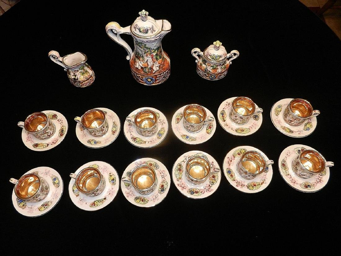 Vintage Capodimonte Italian 22K Gold Lined 29pc Tea Set - 5