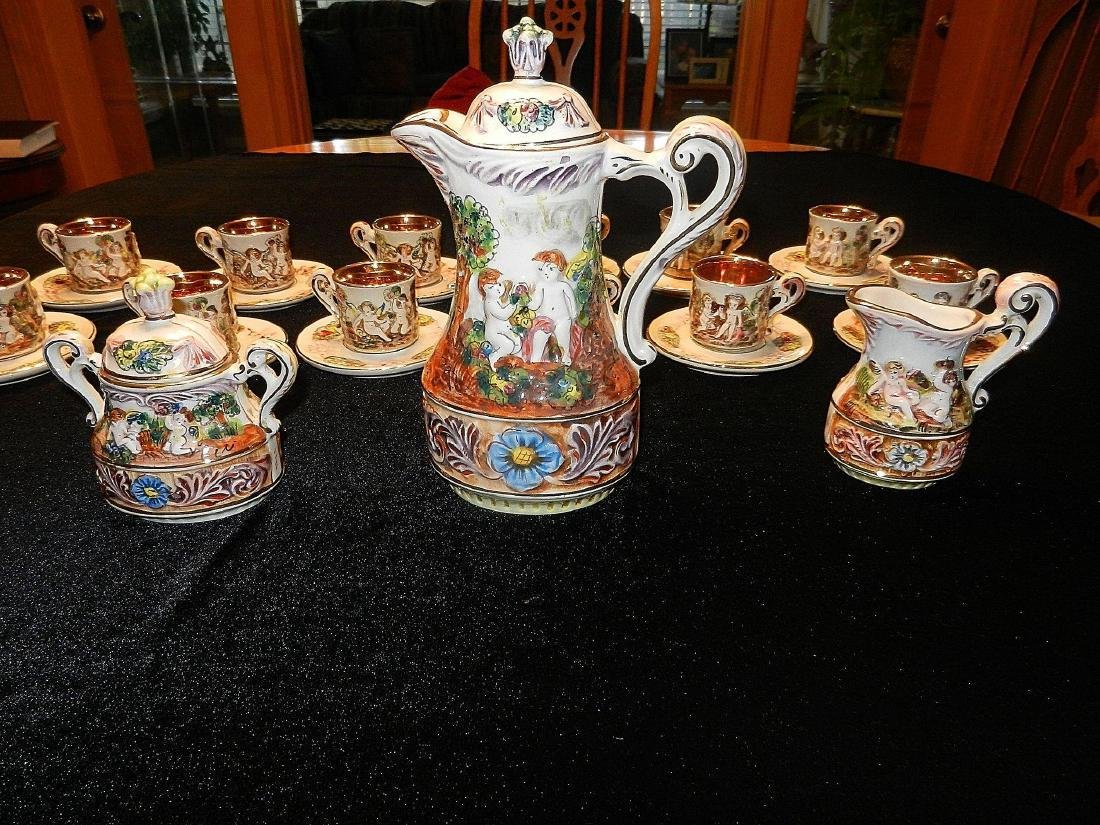 Vintage Capodimonte Italian 22K Gold Lined 29pc Tea Set - 6