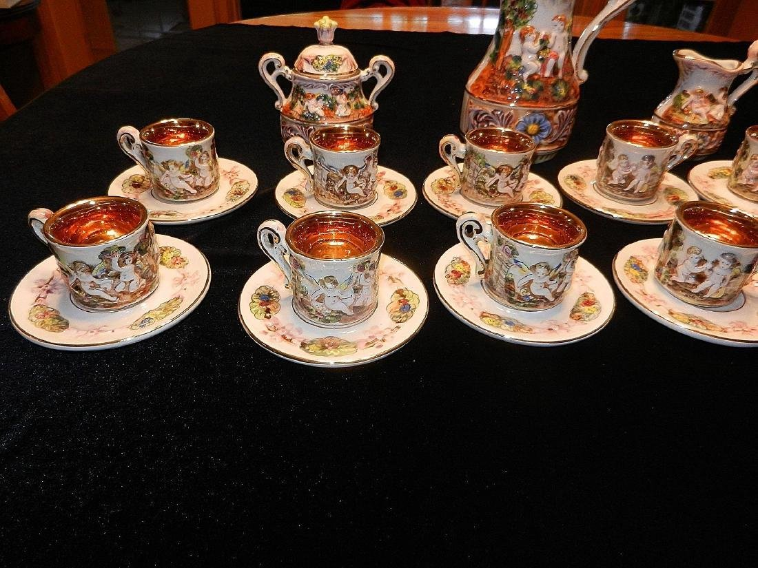 Vintage Capodimonte Italian 22K Gold Lined 29pc Tea Set - 7
