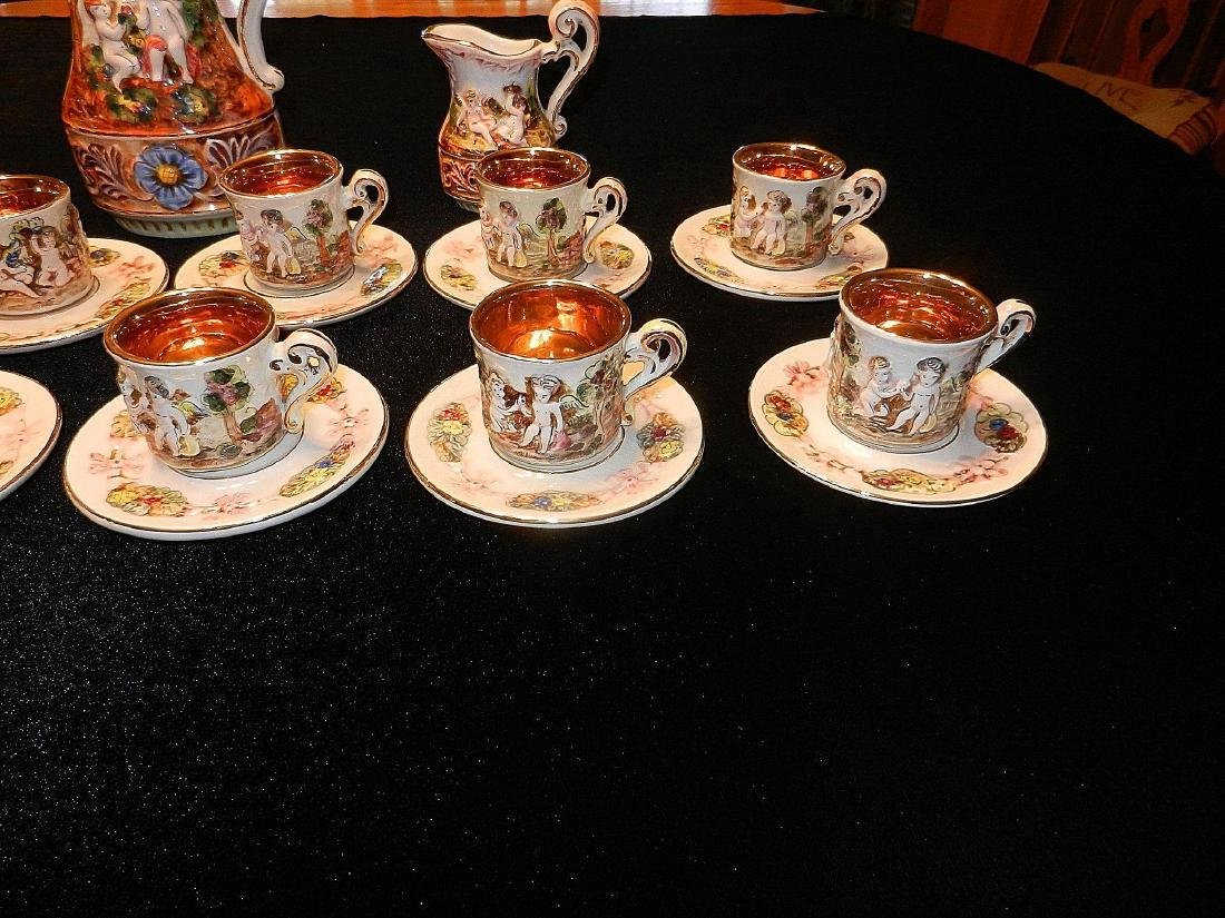 Vintage Capodimonte Italian 22K Gold Lined 29pc Tea Set - 8