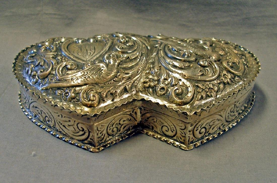 Antique William Comyns Double Heart Sterling Silver Box