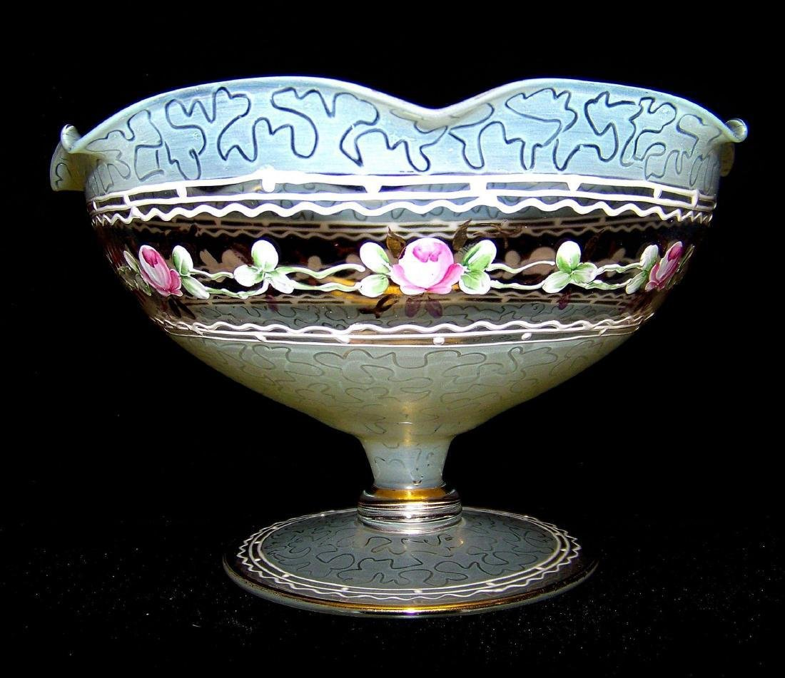 Vintage Decorative Hand Painted Footed Candy Dish