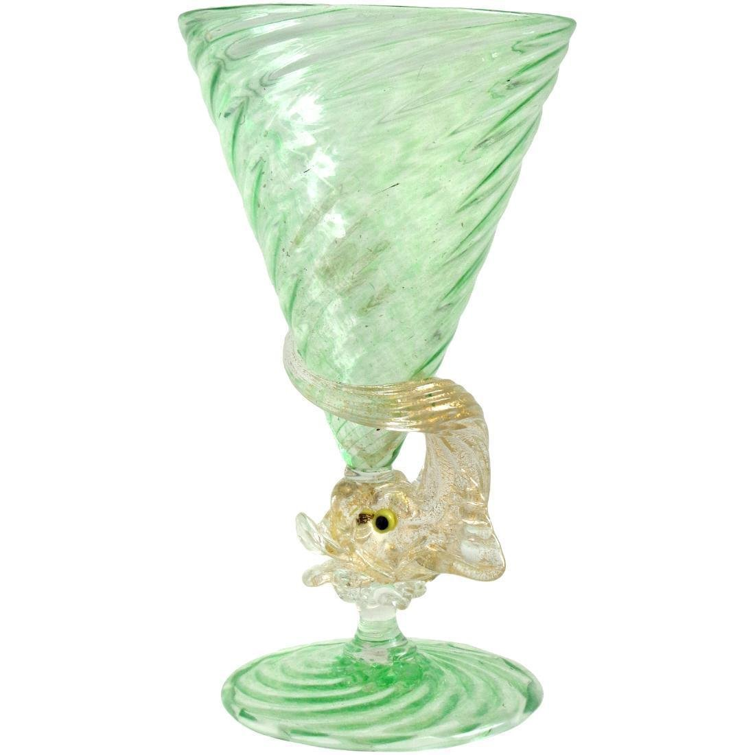 Venetian Murano Green Gold Flecks Fish Art Glass Stem