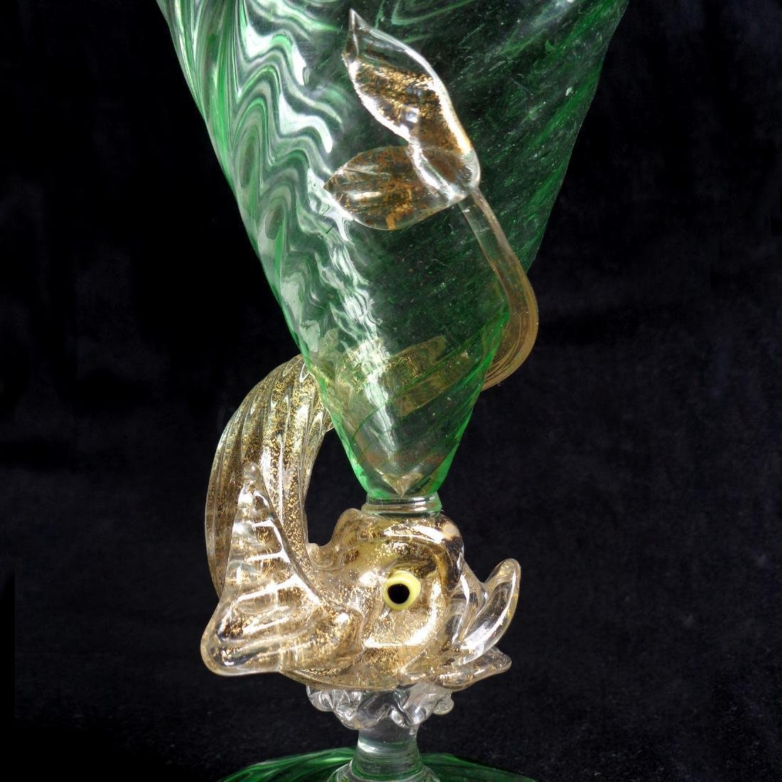 Venetian Murano Green Gold Flecks Fish Art Glass Stem - 2