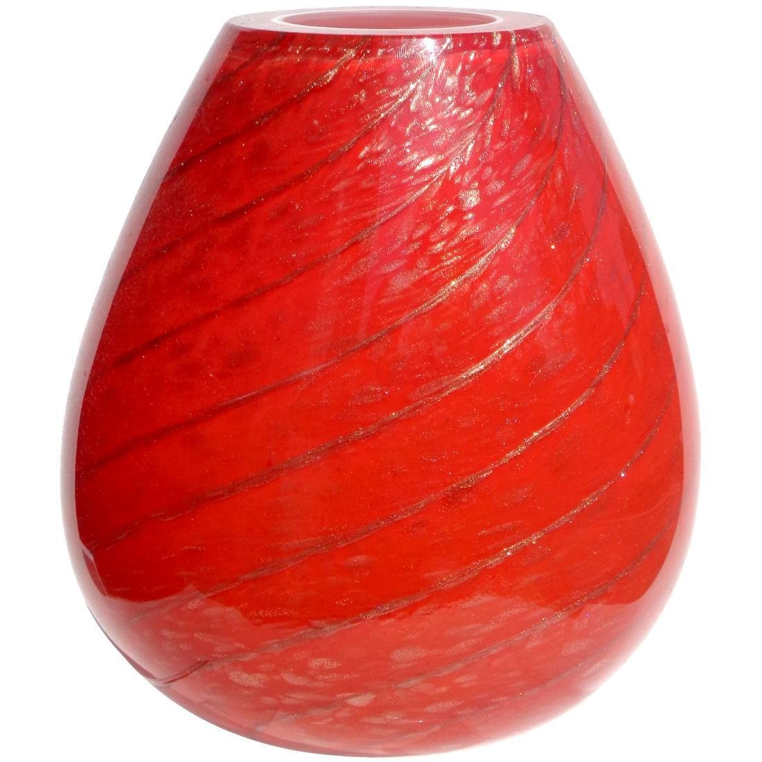 Frtelli Toso Murano Red Aventurine Swirl Art Glass Vase