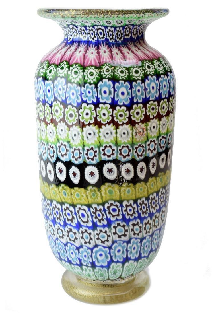 Italian Murano Amedeo Rossetto Millefiori Glass Vase