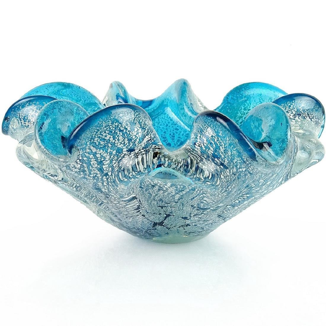 Murano Venetian Blue Silver Leaf Art Glass Bowl - 2