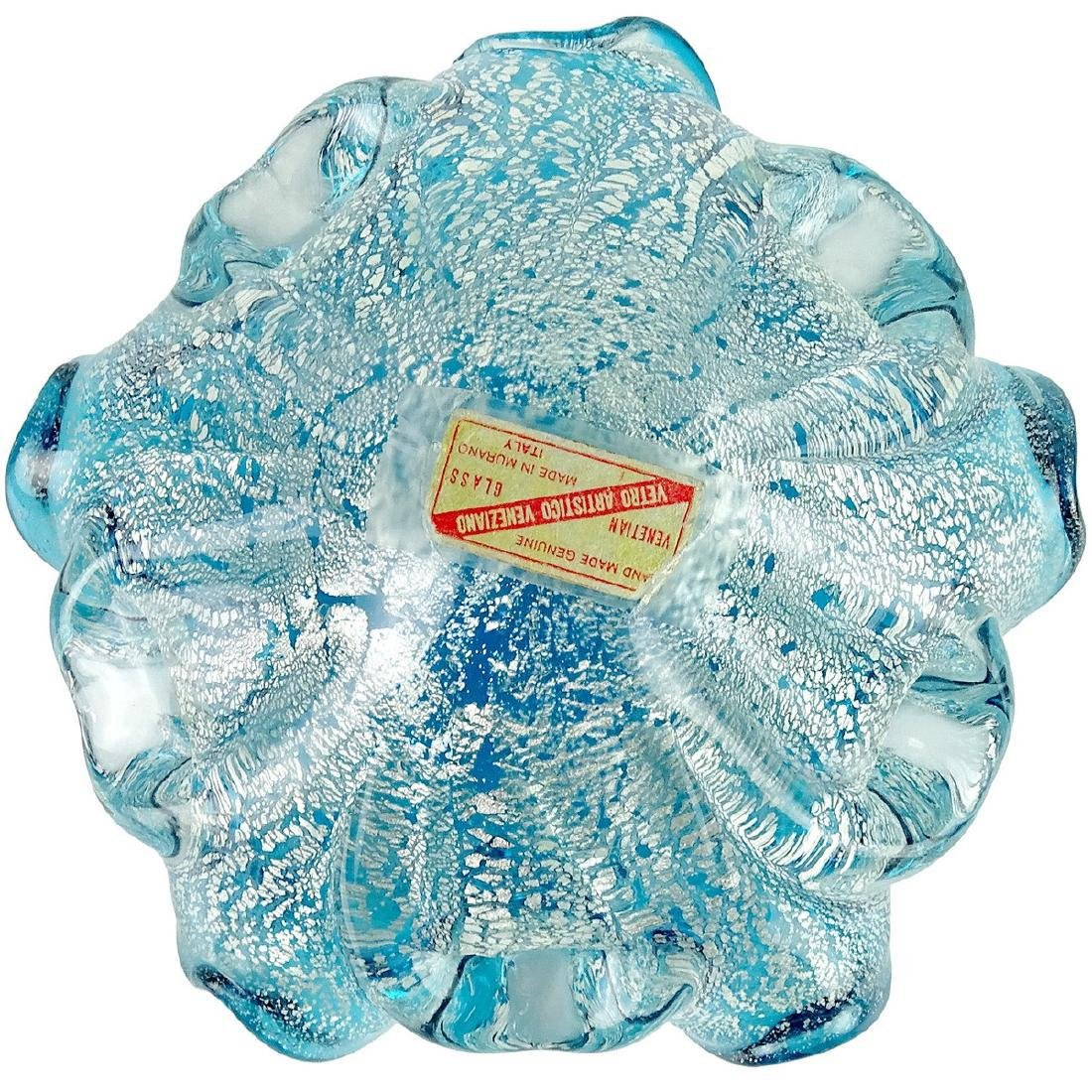Murano Venetian Blue Silver Leaf Art Glass Bowl - 3