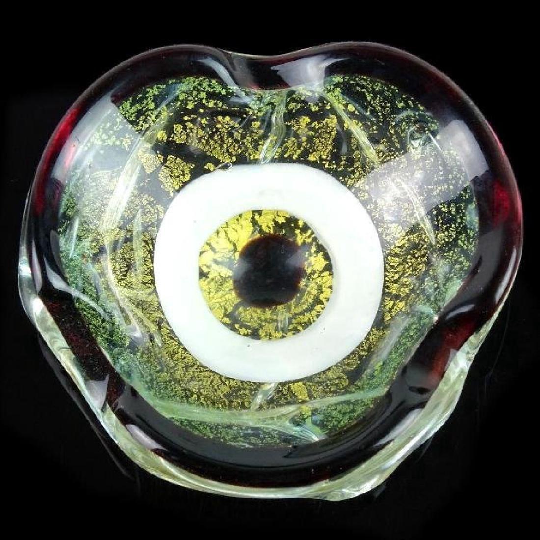 Murano Gold Flecks Italian Art Glass Target Bowl - 2