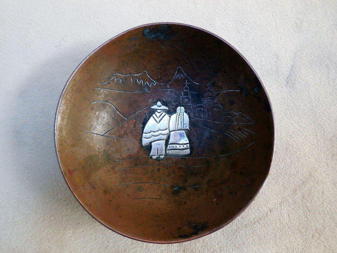 Vintage Taxco Mexican Mixed Metal Bowl - 2