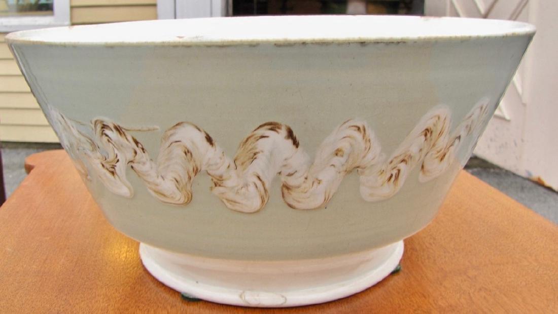 Large Mocha Bowl with Earthworm Decoration, Celadon