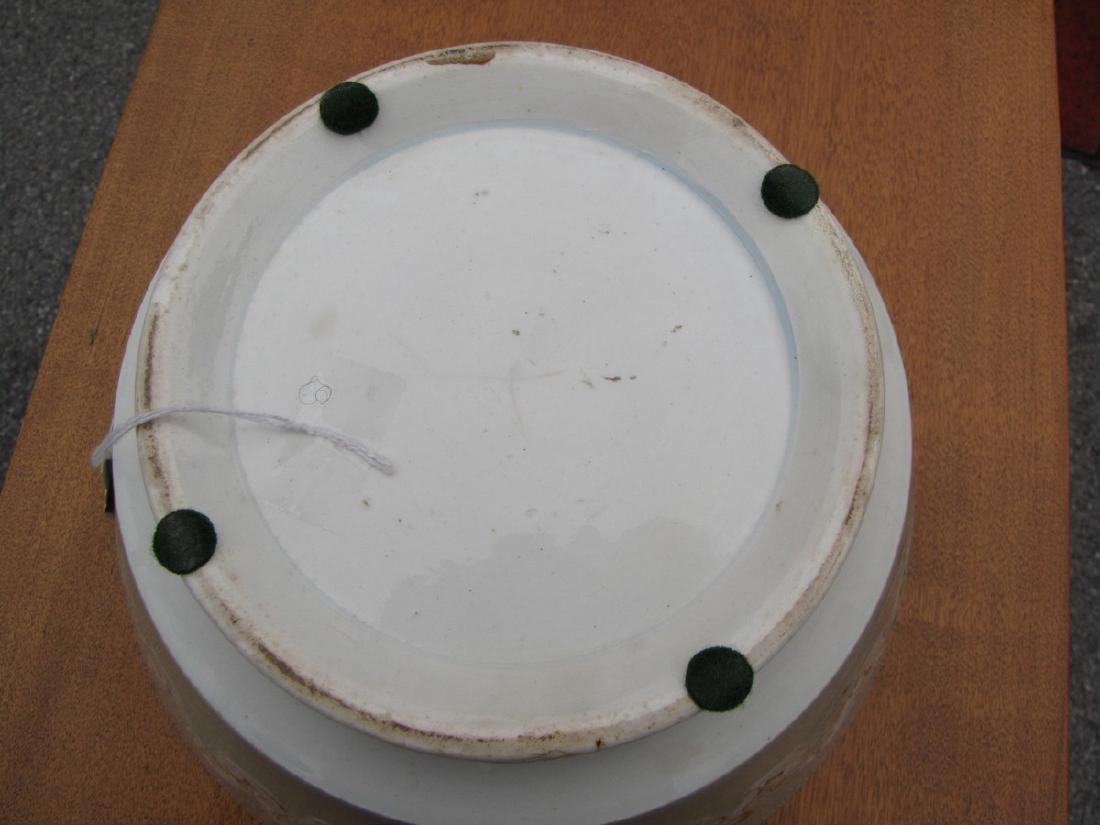 Large Mocha Bowl with Earthworm Decoration, Celadon - 2