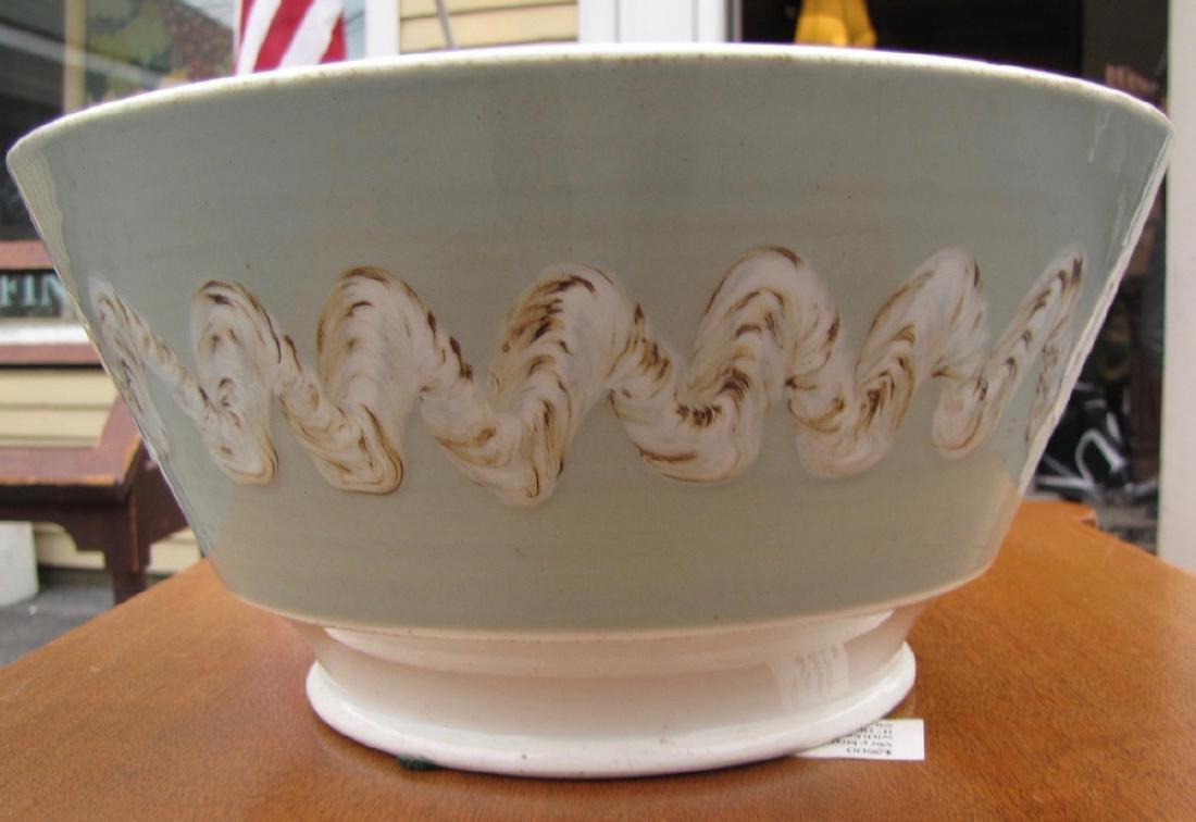 Large Mocha Bowl with Earthworm Decoration, Celadon - 5