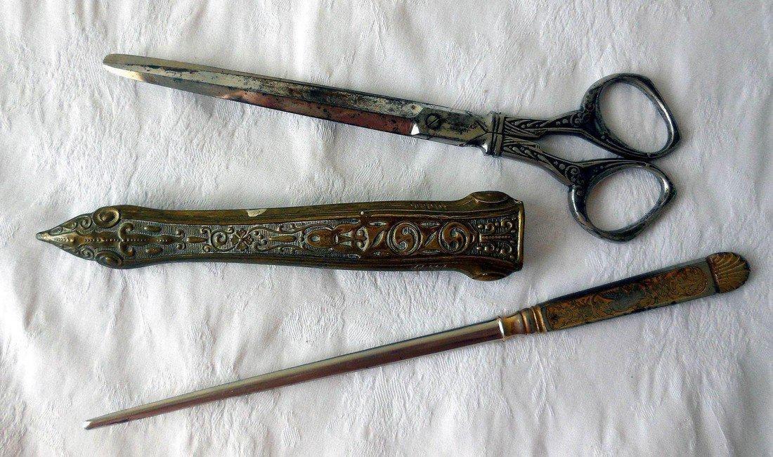 Antique Art Nouveau Scissors & Letter Opener Set - 2