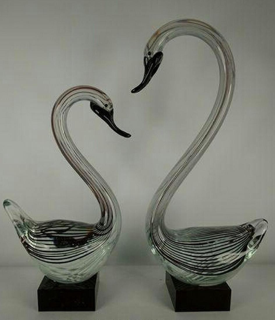 Murano Black/White Glass Pair of Swan Sculptures