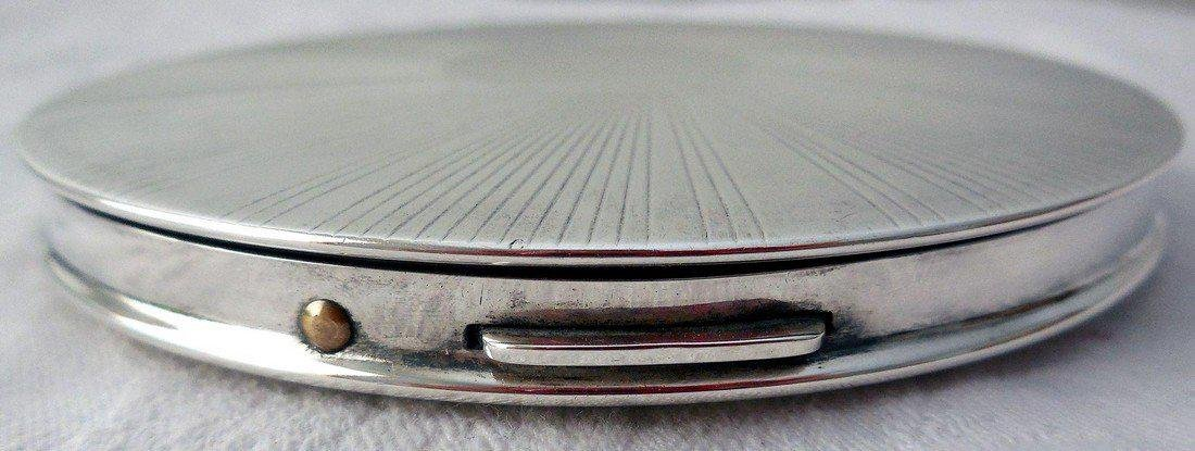 Vintage Art Deco Sterling Silver Compact - 4