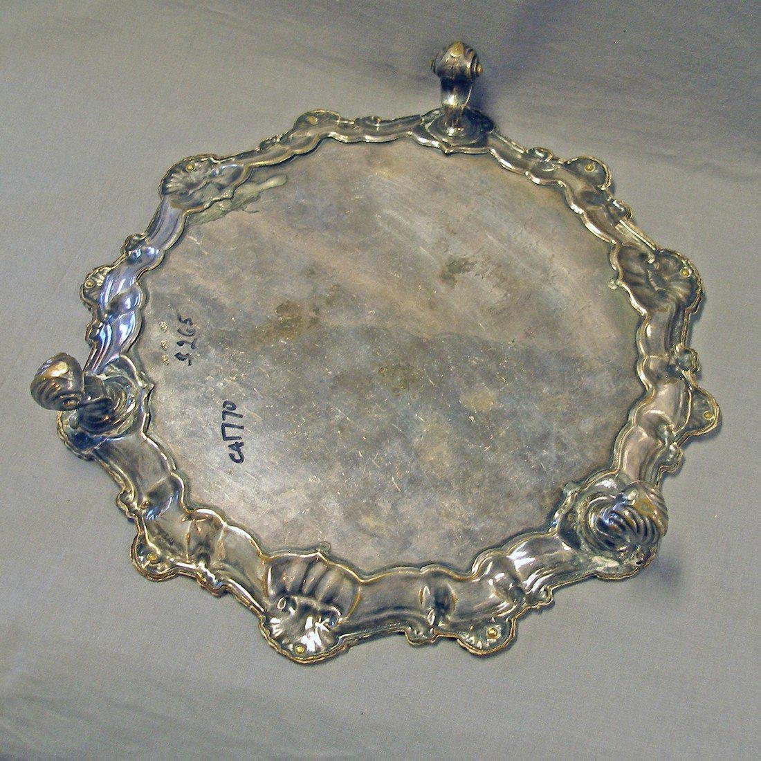 Antique Sheffield Plate Salver, c1770 - 4