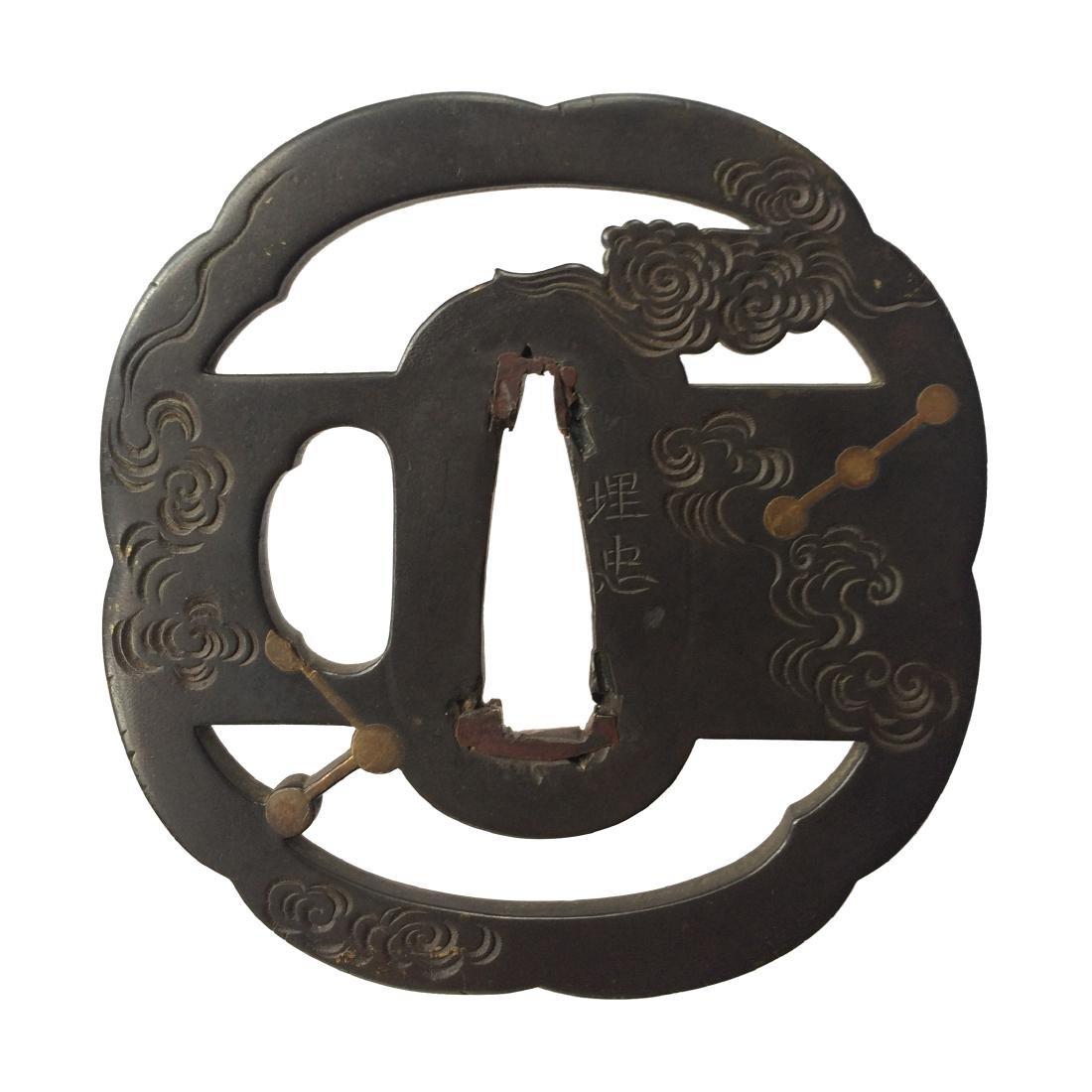 Signed kinko tsuba with celestial motif by Umetada - 4
