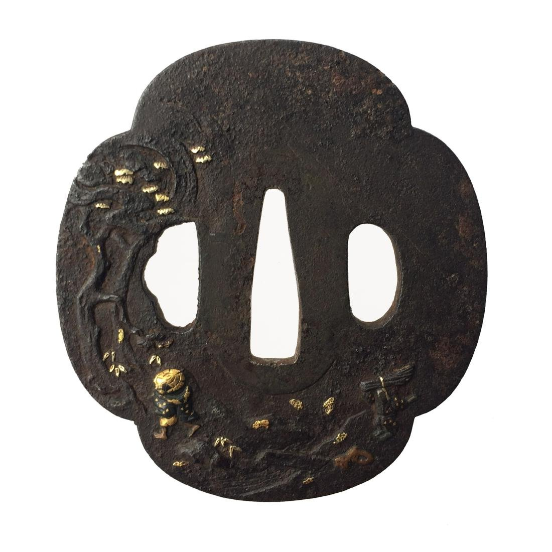 Signed iron tsuba carved and inlaid with gold, copper, - 3