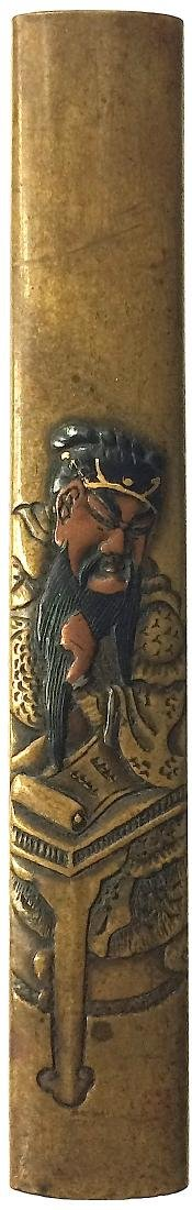 Kozuka (knife handle) carved and inlaid with Shakudo