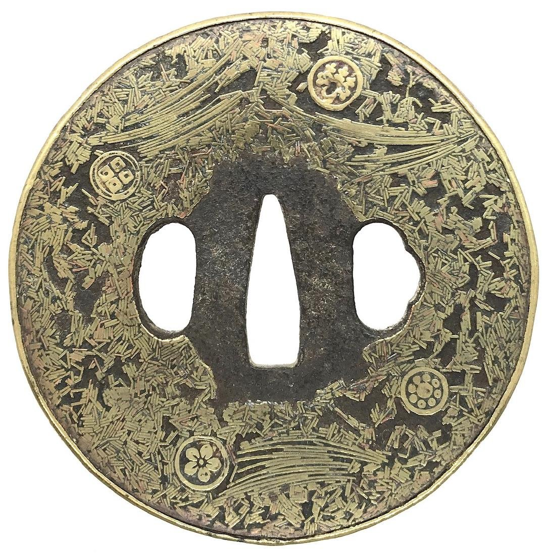 Gomoku-zogan tsuba with family crests (mon)