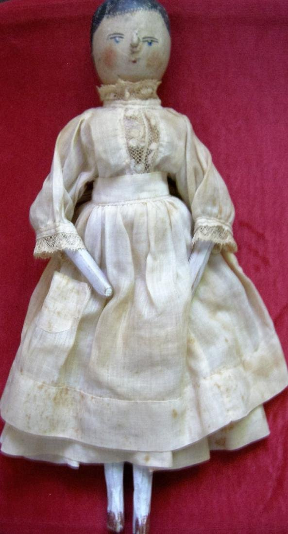 """Antique 12"""" Tall Wooden Peg Doll from the 1800s with"""