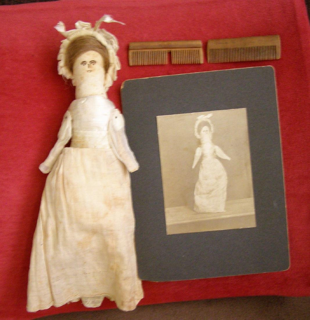 Antique 1800s Handmade Fabric Doll-Real Hair