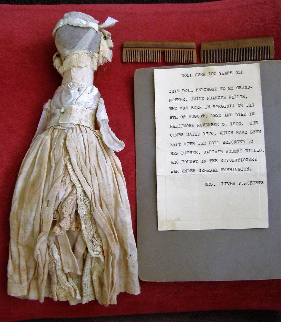 Antique 1800s Handmade Fabric Doll-Real Hair - 2