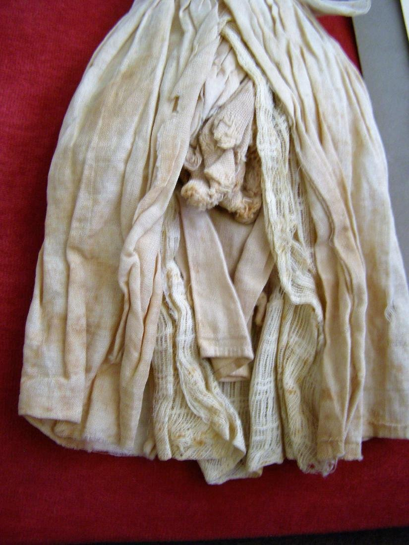 Antique 1800s Handmade Fabric Doll-Real Hair - 3